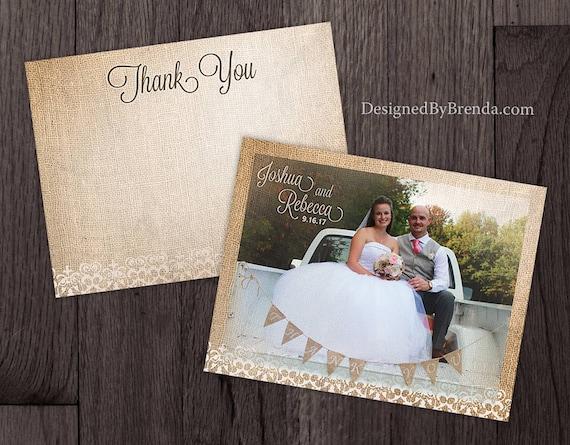 Vintage Sackleinen Und Spitze Hochzeit Danke Postkarten Etsy