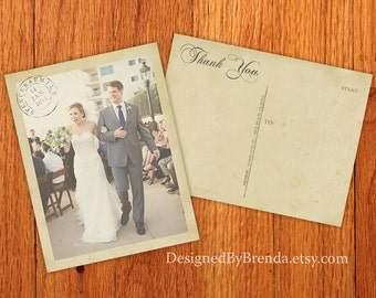 Vintage Wedding Thank You Postcards with Postmark & Photo - Personalized Rustic Card - Recycled Cardstock Matte Finish - Custom Designed