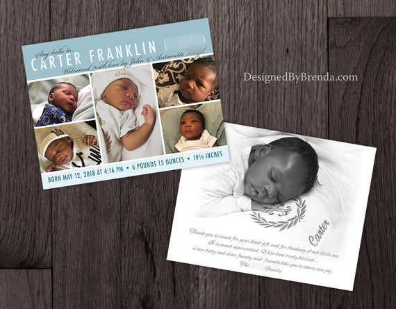Double Sided Postcard Baby Girl or Baby Boy Can be any colors Picture on Back Pink and Grey Birth Announcement Card with 3 Photos