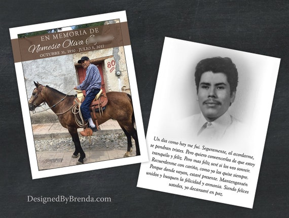 Custom Memorial Cards In Spanish English Or Any Other Etsy