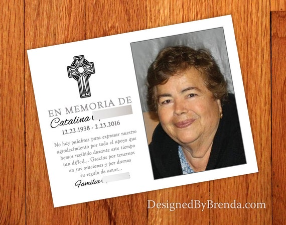 Religious Memorial Card W Photo Cross Funeral Thank You Etsy