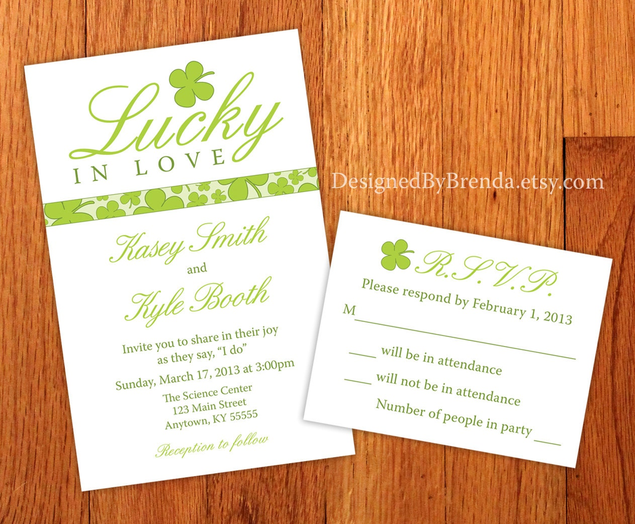 How Big Are Wedding Invitations: Large Shamrock Lucky In Love Wedding Invitations Green