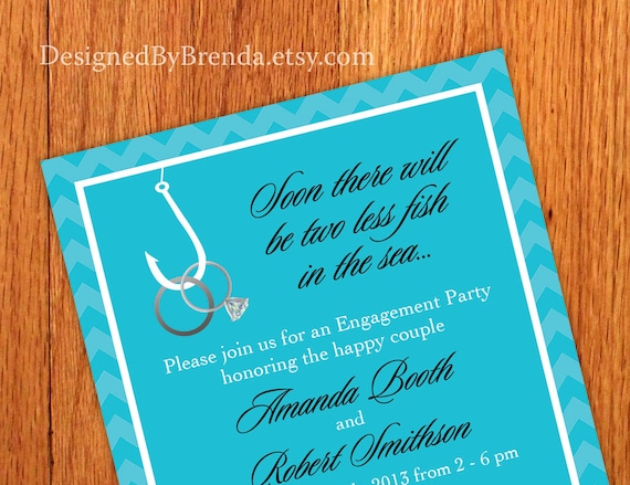 two less fish in the sea engagement party invitations etsy