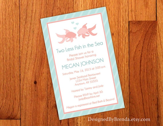 c839ae5a5010 Large Bridal Shower Invitation Two Less Fish in the Sea