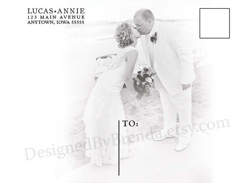 Elegant Look Classic Double Sided with Photo on Back Modern Wedding Thank You Postcard with Clean Lines Coral Peach can be any Color