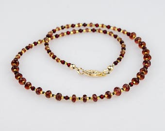 Handmade Mozambique Garnet Necklace, Genuine Quality Natural Faceted Gemstones Strand w Gold, January Birthstone, Fine Jewelry, Merlot Red
