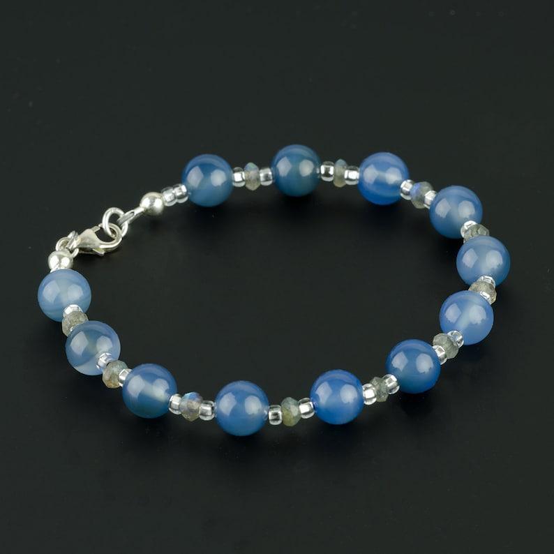 Blue Chalcedony Gemstone Bracelet w Faceted Labradorite /& Sterling Silver