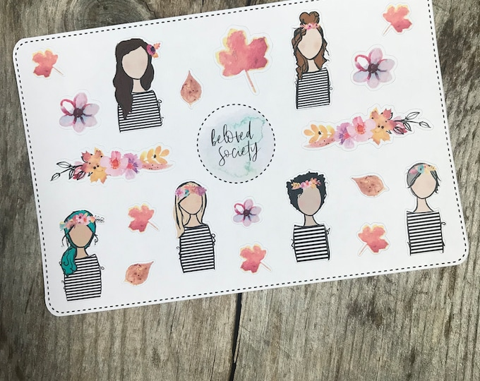 Collecting Leaves Sticker Sheet