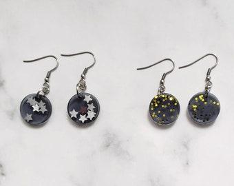 Minimalist round  Resin earrings - Black resin earrings with glitter - Resin jewelry - gift idea for women - circle festive earrings