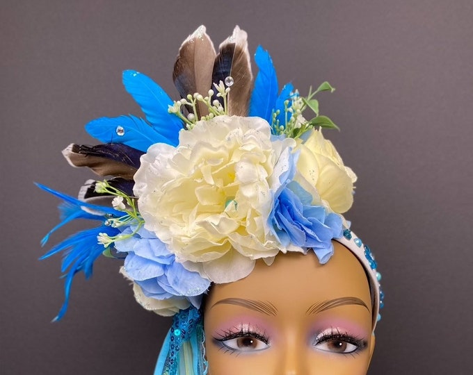 Blue Flower Headband, Flower Crown, Rose Crown, Floral Crown, Floral Headpiece, Feather Headdress, Wedding, Bohemian, Goddess, Fairy