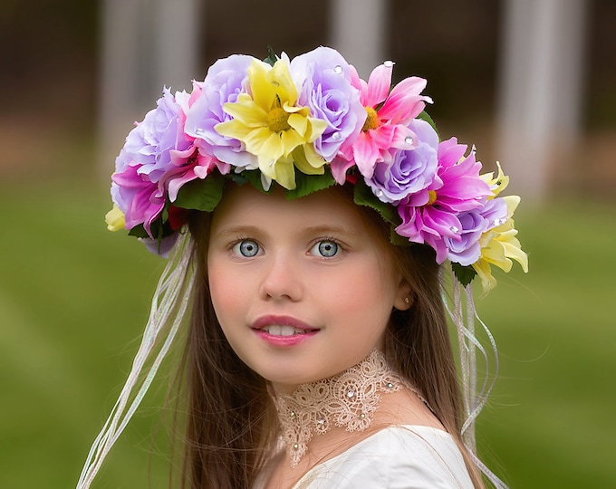 Spring Flower Crown, Floral Crown, Flower Crown Headband, Fairy Crown, Floral Headpiece, Flower Girl Headpiece, Festival Crown, Pastel Crown