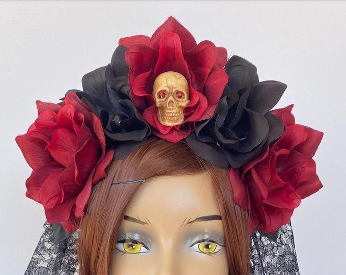 Flower Head Wreath, Floral Headpiece, Floral Crown, Flower Crown Headband, Flower Hair Garland, Día de Muertos, Day of the Dead Headband