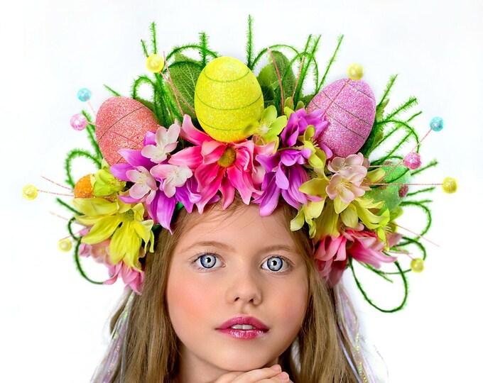 Easter Crown, Spring Flower Crown, Floral Crown, Easter Egg Crown, Fairy Crown, Floral Headpiece, Flower Girl Headpiece, Pastel Crown