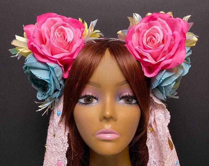 Pastel Flower Headband, Flower Headdress, Rose Headdress, Flower Headpiece, Festival, Burning Man, Hippie, Bohemian, Rave Wear, EDC