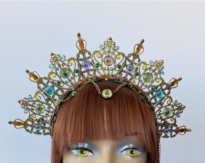 Eyeball Headband, Metal Crown, Gothic Crown, Filigree Crown, Antique Bronze Crown, Jeweled Crown, Filigree Headband, Halo Headpiece, Tiara
