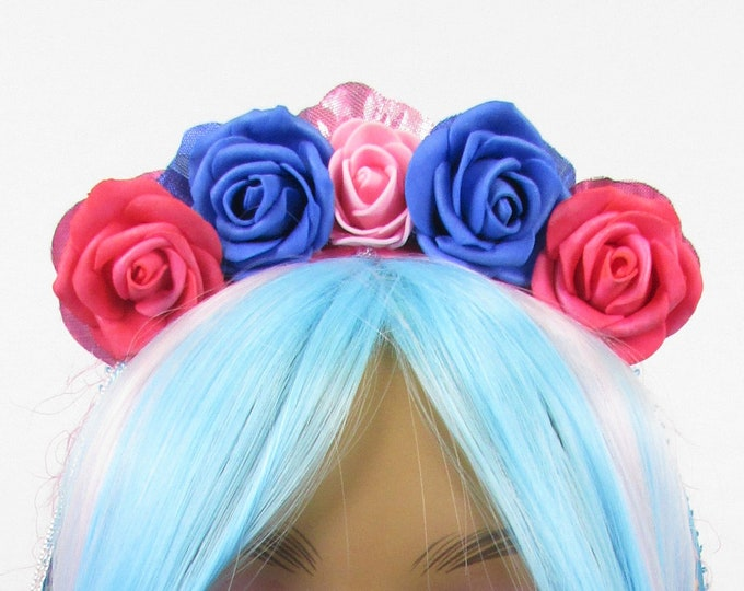 Pink & Blue Rose Crown, Valentines Flower Crown, Rose Headdress, Floral Headpiece, Floral Crown, Flower Girl Headband, All Ages, Kids Crown