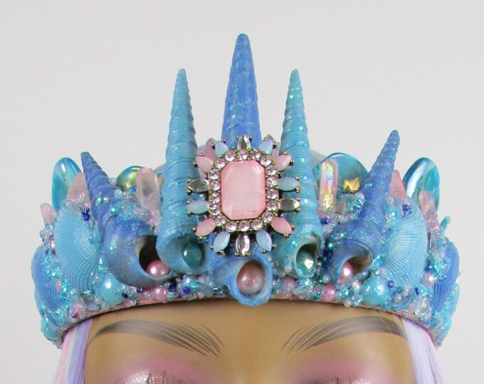 Blue & Pink Mermaid Crown, Mermaid Headband, Mermaid Headdress, Shell Crown, Mermaid Costume, Seashell Tiara, Crystal Crown, Beach Wedding