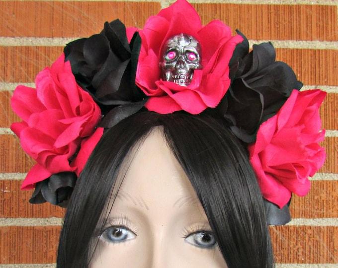 Flower Crown Headband, Pink & Black Rose Skull Crown, Flower Crown, Floral Headpiece, Floral Crown, Day of the Dead Flower Crown, Halloween