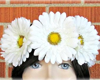 White Flower Crown, Floral Crown, Flower Halo, Flower Headband, Floral Headband, Daisy Crown, Flower Wreath, Wedding, Festivals