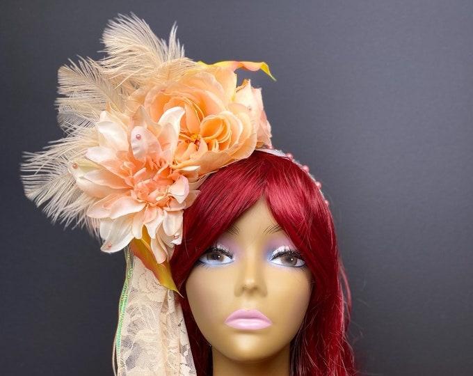 Peach Flower Headdress, Lily Flower Crown, Rose Crown, Flower Headband, Floral Crown, Floral Headpiece, Wedding, Bohemian, Goddess