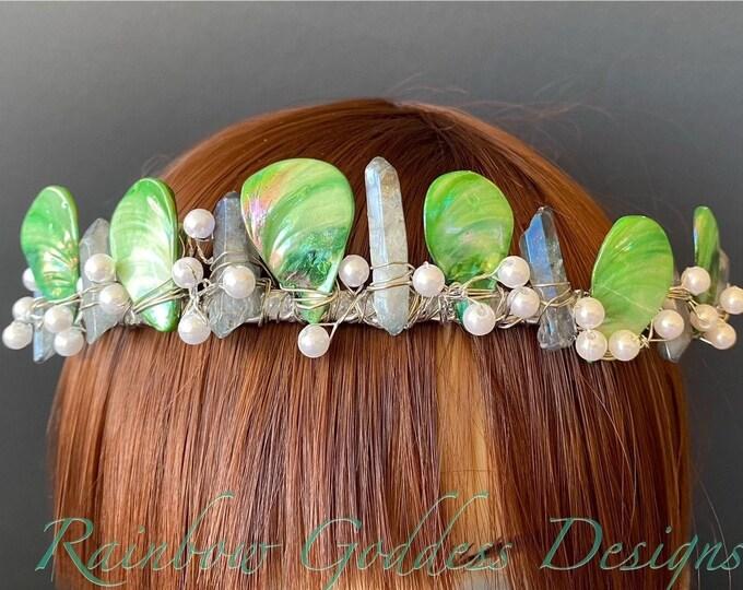 Green and Blue Mermaid Crown, Mother of Pearl Crown, Crystal Crown, Bridal Tiara, Festival Headpiece, Bridal Crown, Mermaid Tiara, Headband