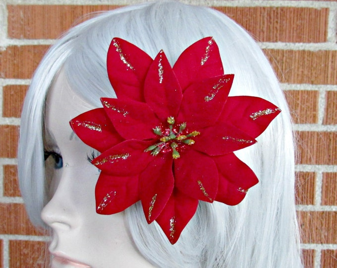 Christmas Hair Clip, Holiday Hair Clip, Poinsettia Clip, Holiday Hair Piece, Christmas Fascinator, Festive Wear, Holiday Party, SantaCon