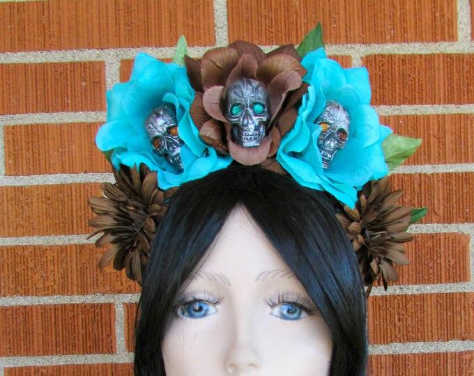 Rose Skull Crown, Day of the Dead Flower Crown, Día de los Muertos Headdress, Skull Headband, Brown and Turquoise Rose Crown, Flower Wreath