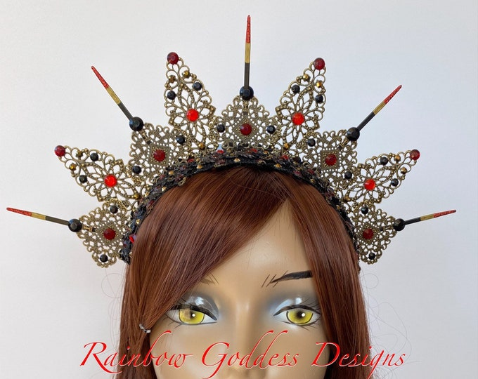 Red Gothic Crown, Metal Crown, Gothic Tiara, Filigree Crown, Antique Bronze Crown, Jeweled Queen Crown, Filigree Headband, Halo Headpiece