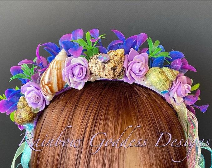 Mermaid Headband, Mermaid Crown, Mermaid Headdress, Shell Crown, Mermaid Costume, Seashell Tiara, Mermaid Crown for Girls, Beach Headband