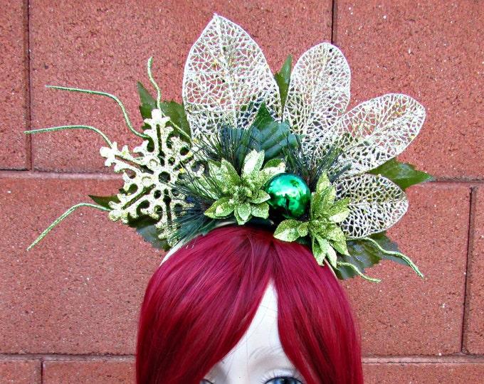 Holiday Headdress, Christmas Headband, Holiday Headband, Green/Gold Headband, Winter Fairy Headdress, Xmas Accessory, Festive Wear, SantaCon