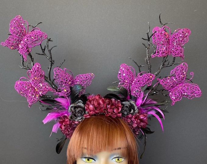 Butterfly Branch Headband, Black Branch Headdress, Halloween Headpiece, Gothic Headband, Forest Witch, Dark Fairy, Evil Queen, Dark Woodland