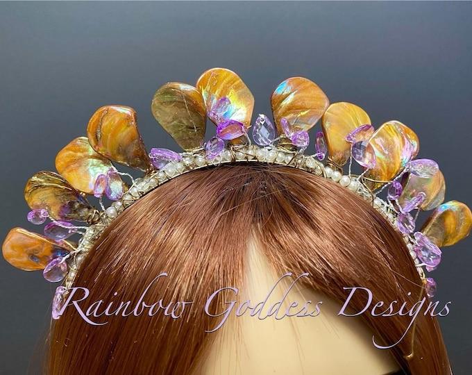 Amber Mermaid Crown, Mother of Pearl Crown, Bridal Tiara, Wedding Crown, Festival Headpiece, Bridal Crown, Mermaid Headband, Mermaid Tiara