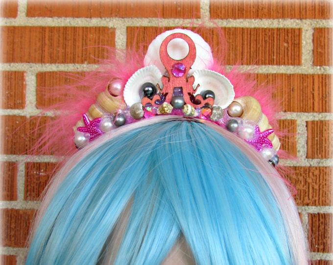 Pink Mermaid Crown, Mermaid Headband, Octopus Headband, Shell Crown, Mermaid Costume, Cosplay, Halloween, Festival Wear