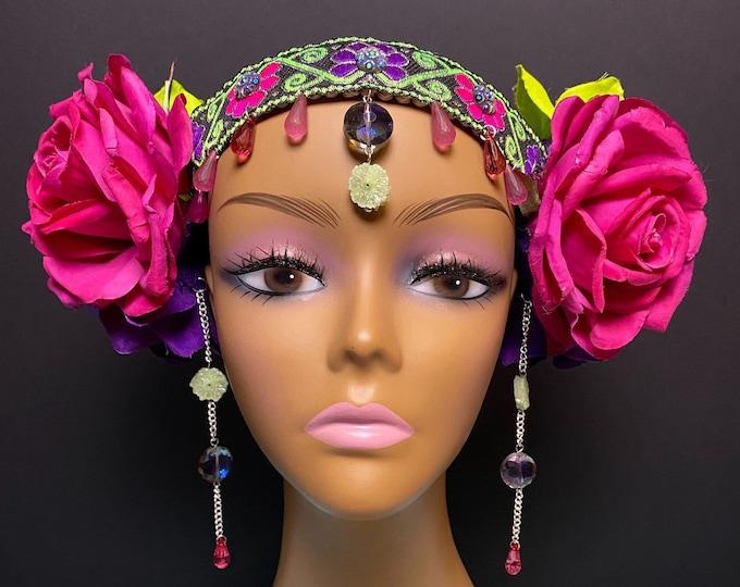 Rose Flower Headband, Flower Headdress, Rose Crown, Floral Crown, Flower Headpiece, Festival, Burning Man, Hippie, Bohemian, Rave Wear, EDC
