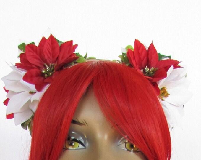 Poinsettia Headband, Christmas Flower Crown, Holiday Headband,  Winter Flower Crown, Ugly Sweater Party, Holiday Tiara,  Headband