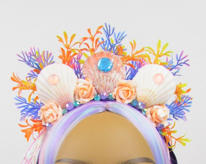 Mermaid Headband, Mermaid Crown, Mermaid Headdress, Shell Crown, Mermaid Costume, Seashell Tiara, Mermaid Crown for Girls, Beach Headband