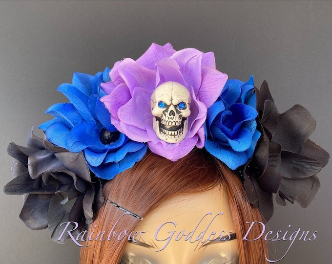 Flower Crown, Floral Headpiece, Rose Skull Headband, Floral Crown, Flower Crown Headband, Flower Headband, Day of the Dead, Halloween, Goth