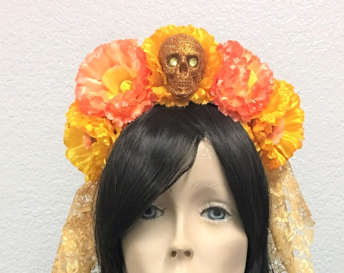 Flower Crown, Skull Crown, Veiled Headband, Flower Head Wreath, Floral Headpiece, Floral Crown, Day of the Dead Flower Crown, Halloween