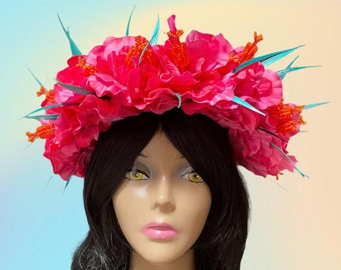 Pink Hibiscus Flower Crown, Tropical Headdress, Hawaiian Flower Crown, Tiki Oasis, Tiki Wedding, Luau Party, Summer BBQ, Light Up
