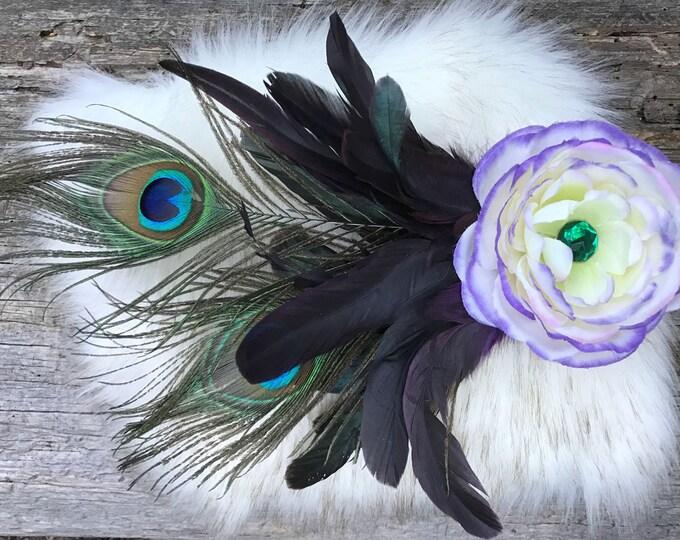 Flower Hair Clip, Peacock Hair Clip, Feather Hair Clip, Flower Headpiece, Wedding Hair Piece, Flower Clip, Bridal, Festival, EDC, Burningman
