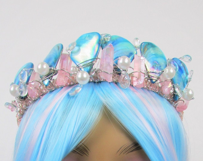 Blue & Pink Mermaid Crown, Mother of Pearl Crown, Crystal Crown, Bridal Tiara, Festival Headpiece, Bridal Crown, Mermaid Tiara, Headband
