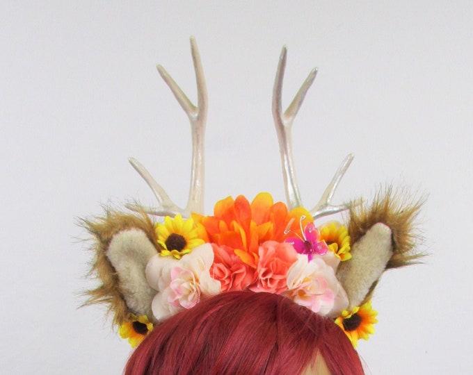 Kids Deer Headband, Deer Antlers, Animal Ears Headband, Flower Crown, Woodland Headband, Deer Headband, Deer Ears Headband, Fawn Headband