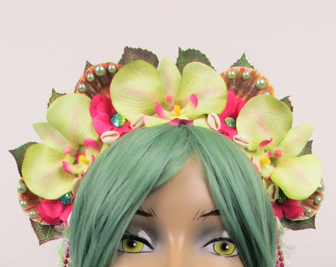 Tropical Crown, Mermaid Crown, Flower Crown, Green Orchid Crown, Mermaid Headband, Beach Headband, Tropical Headband, Beach Crown, Hawaiian