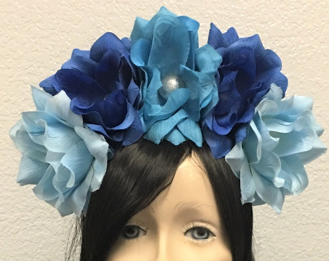 Blue Flower Crown, Rose Crown, Flower Headband, Flower Head Wreath, Floral Headpiece, Floral Crown, Day of the Dead, Halloween, Faerie