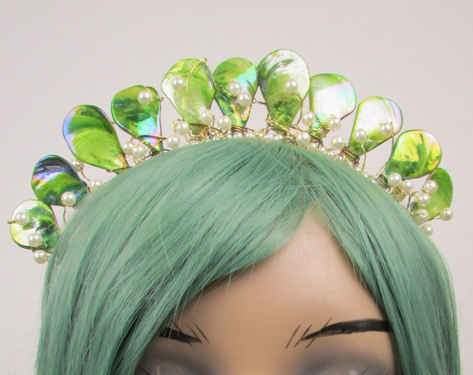 Green Mermaid Crown, Mother of Pearl Crown, Bridal Tiara, Wedding Crown, Festival Headpiece, Bridal Crown, Mermaid Headband, Mermaid Tiara