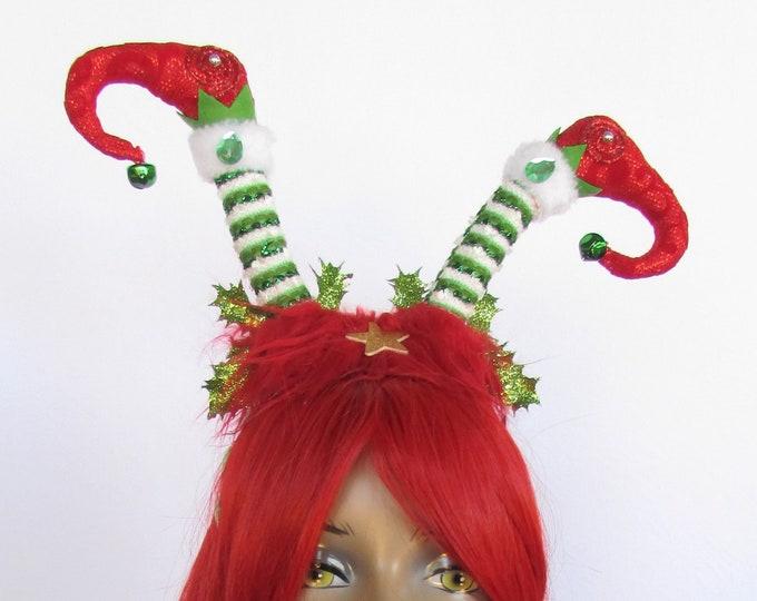 Elf Christmas Headband, Elf Headband, Holiday Headdress, Holiday Headband, Ugly Sweater Holiday Party, Tacky Christmas Party Accessories
