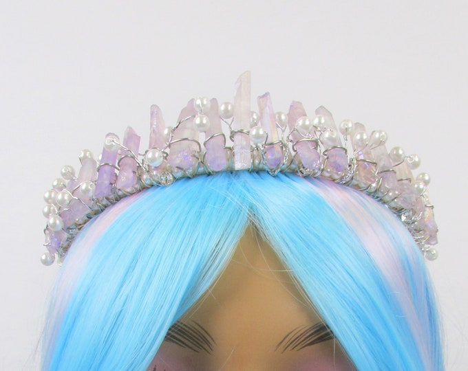 Purple Crystal Crown, Crystal Tiara, Quartz Crown, Festival Crown, Rave Crown, Mermaid Crown, Mermaid Headpiece, Raw Crystal Quartz