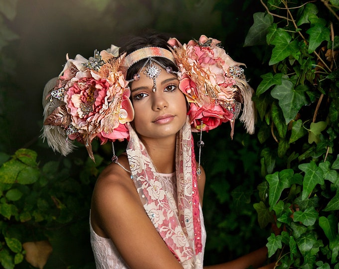 Peach Goddess Headdress, Flower Headdress, Fairy Crown, Floral Headpiece, Fantasy Crown, Butterfly Headdress, Feather Headdress