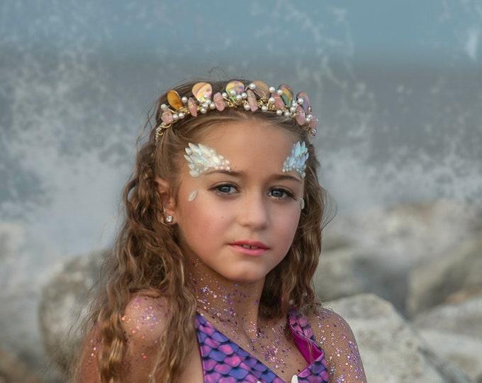 Gold & Pink Mermaid Crown, Mother of Pearl Crown, Crystal Crown, Bridal Tiara, Festival Headpiece, Bridal Crown, Mermaid Tiara, Headband