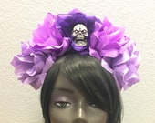 Purple Rose Skull Crowns, Day of the Dead Flower Crown, Día de los Muertos Headdress, Veiled Headdress, Skull Headband, Rose Crown, Frida